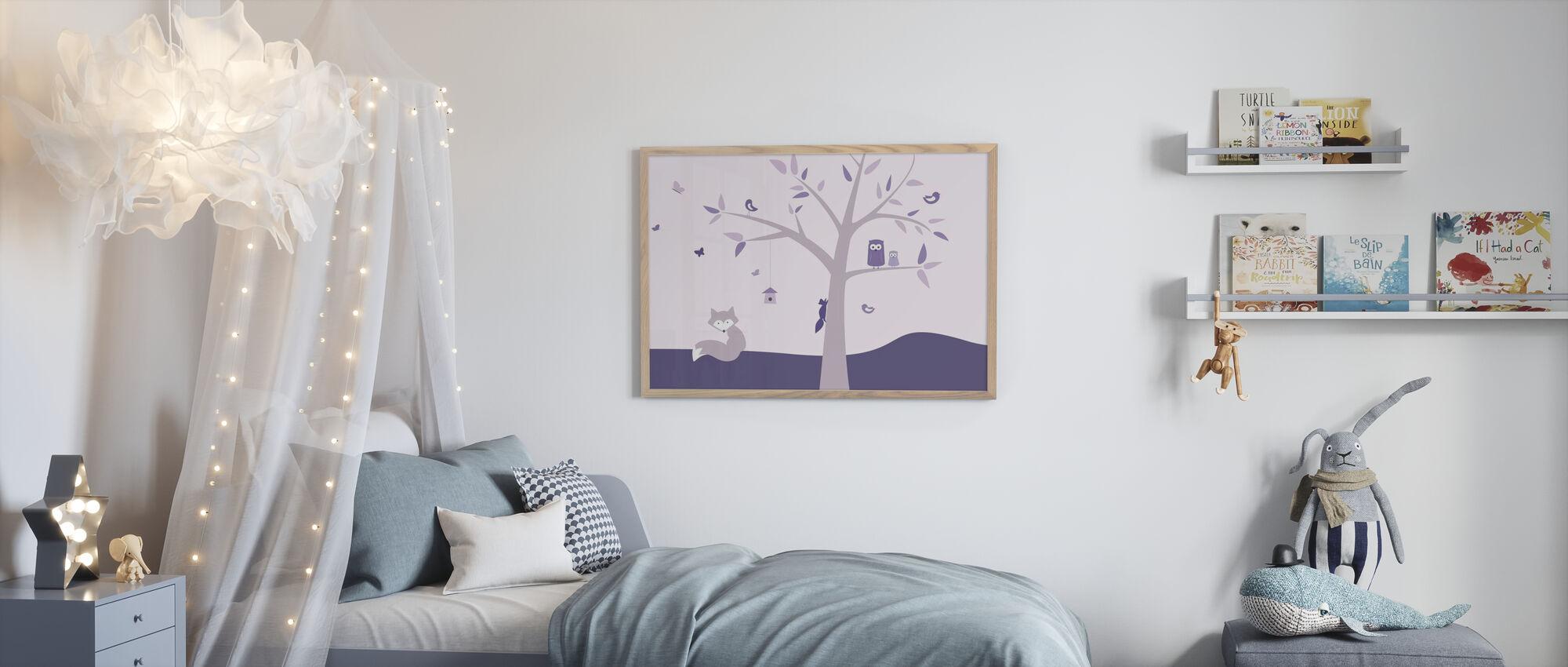 Eläinpuu - Violetti - Kehystetty kuva - Lastenhuone