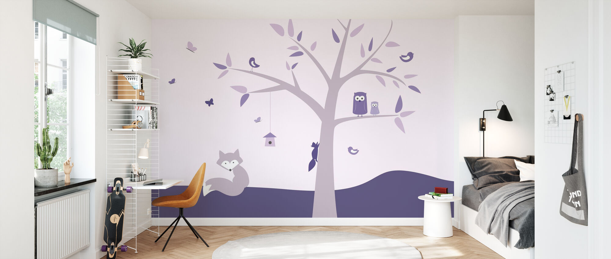 Eläinpuu - Violetti - Tapetti - Lastenhuone