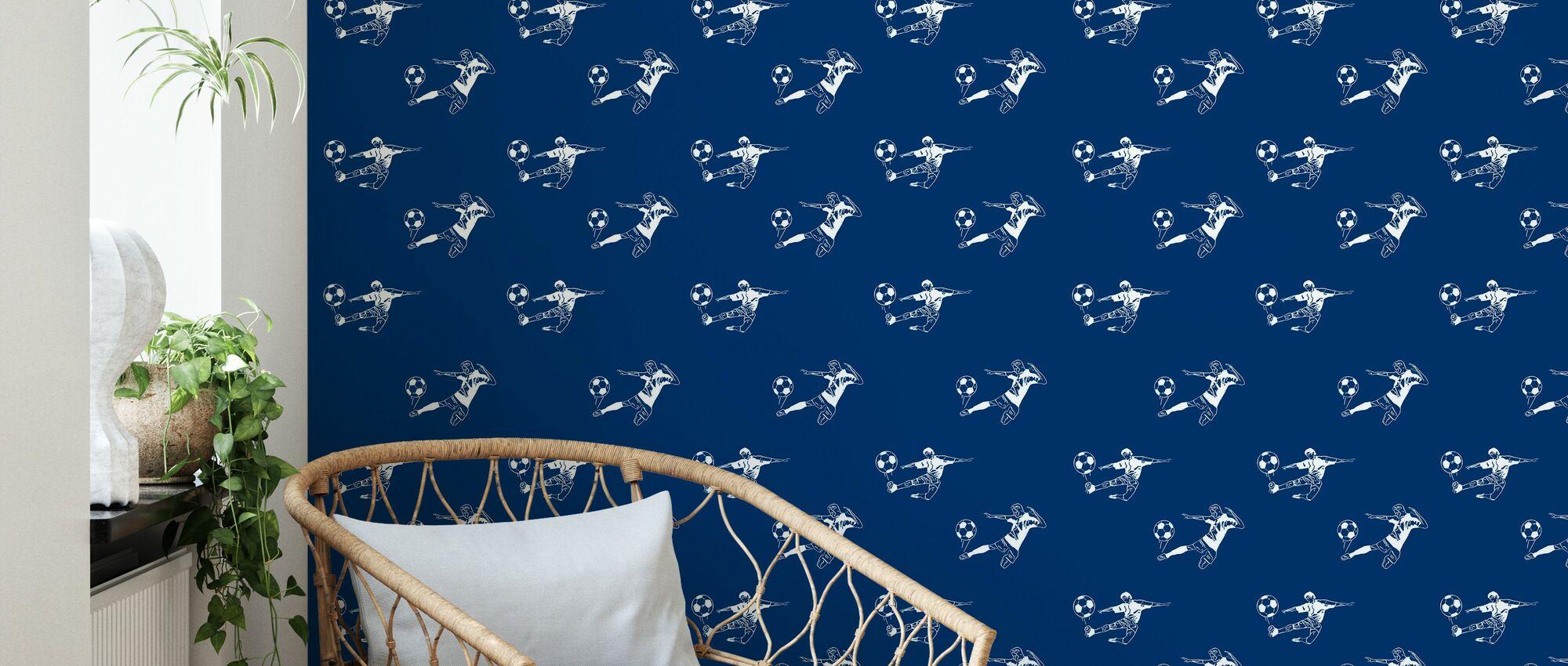 Kick It - Donkerblauw patroon - Behang - Woonkamer
