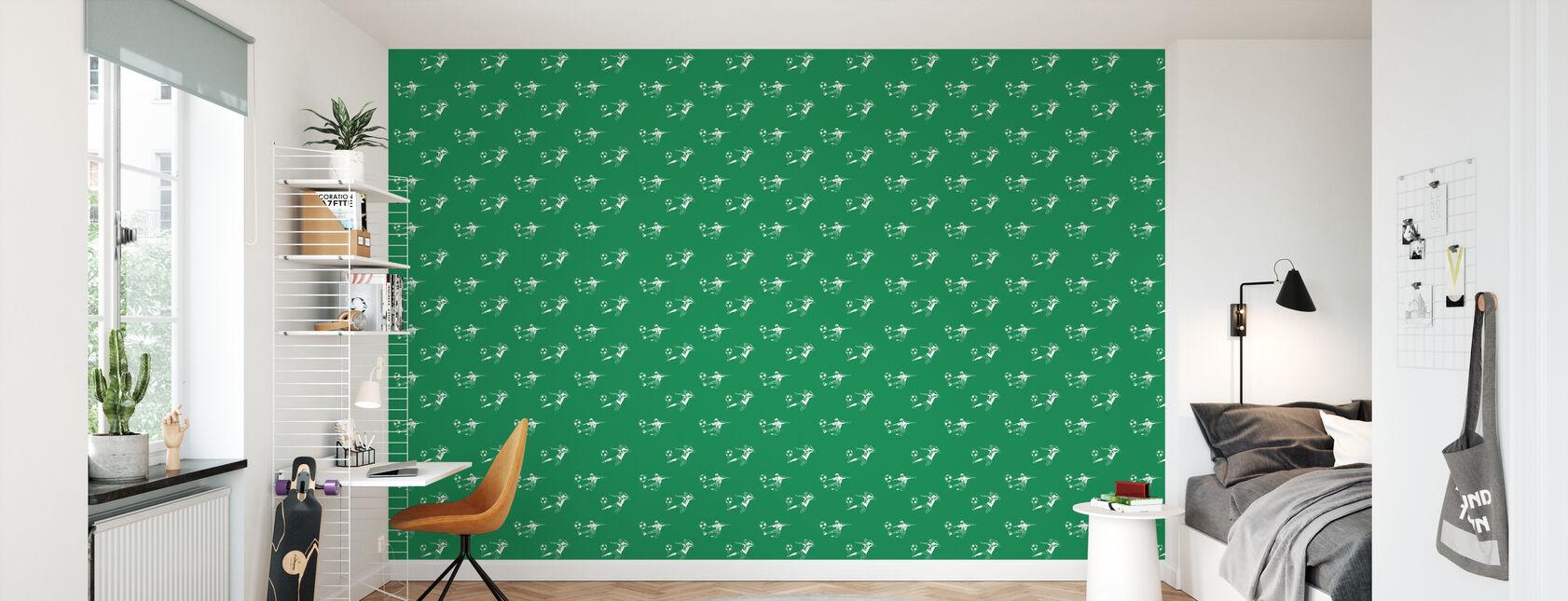 Sparka det - grönt mönster - Tapet - Barnrum