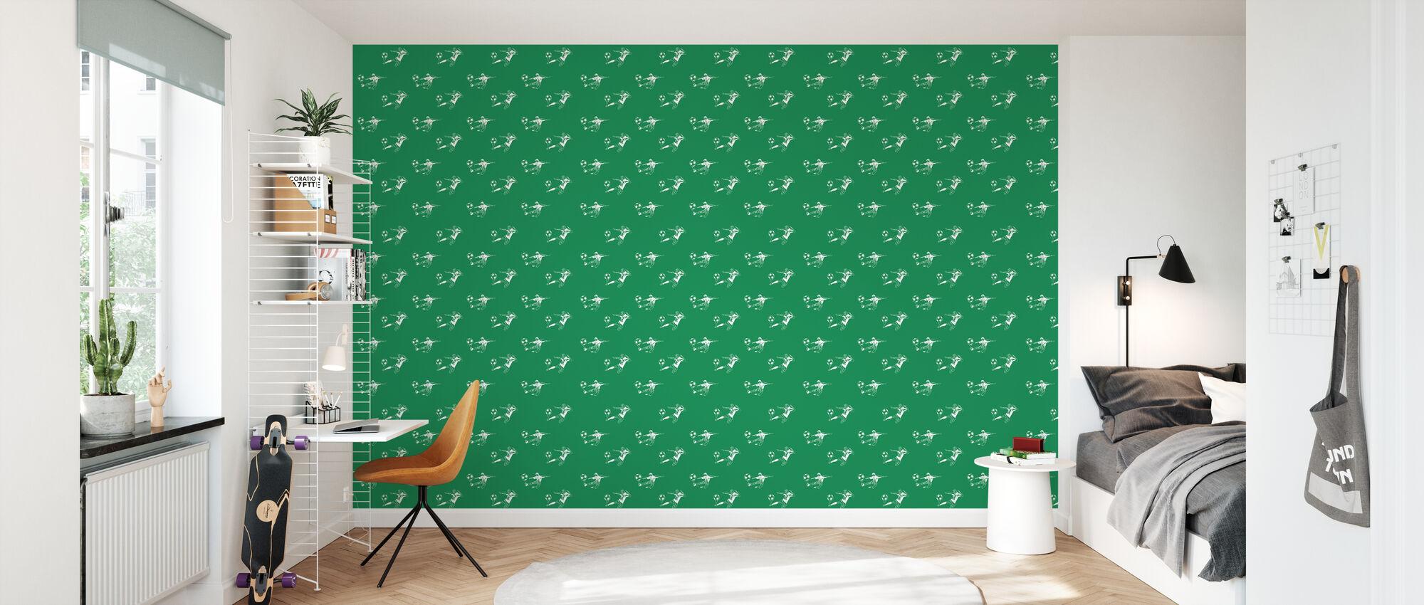 Kick It - Groen Patroon - Behang - Kinderkamer