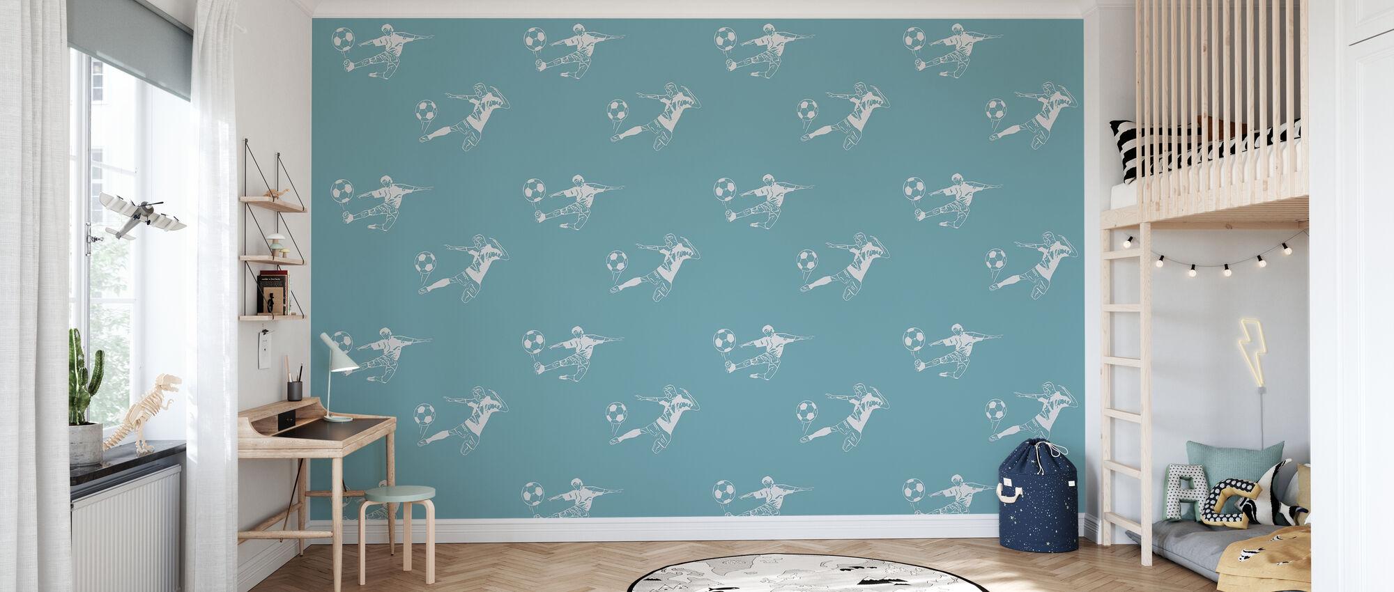 Kick It - lichtblauw patroon - Behang - Kinderkamer