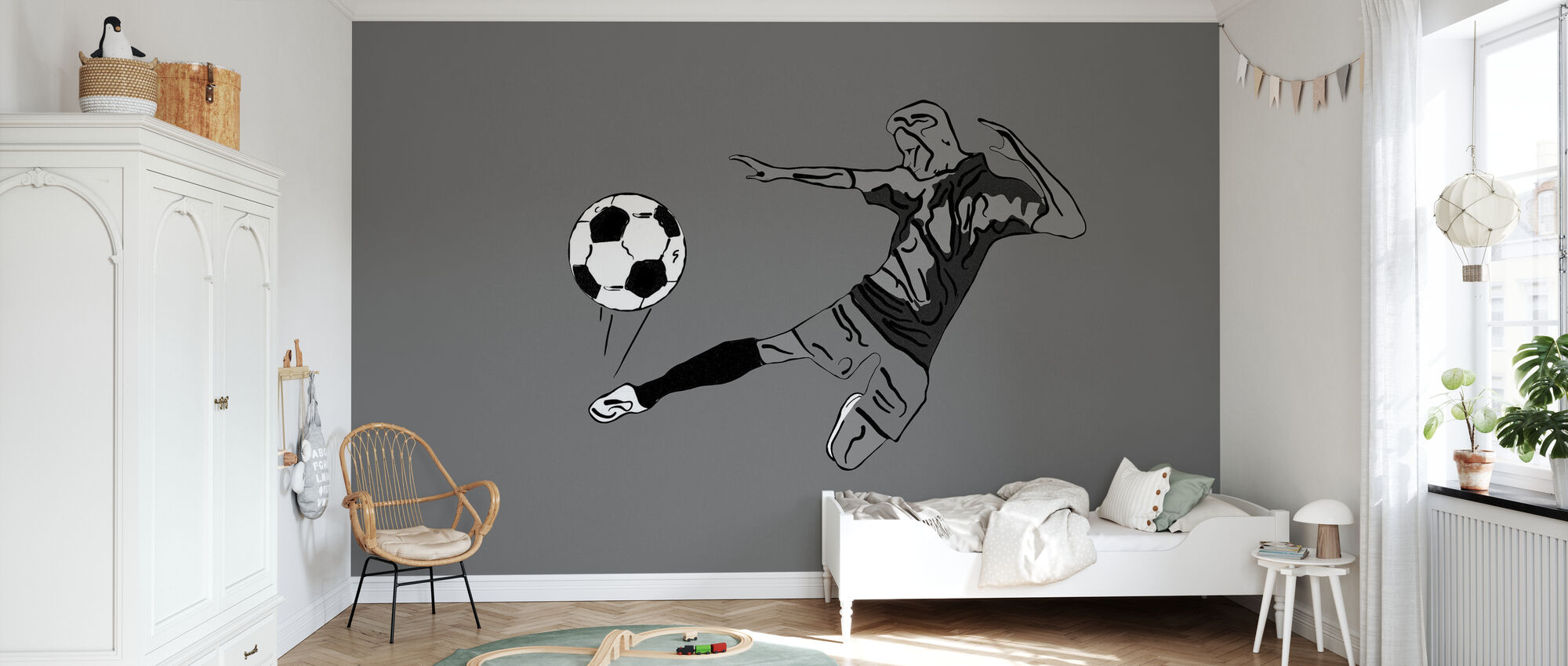 Kick It - Grey - Wallpaper - Kids Room