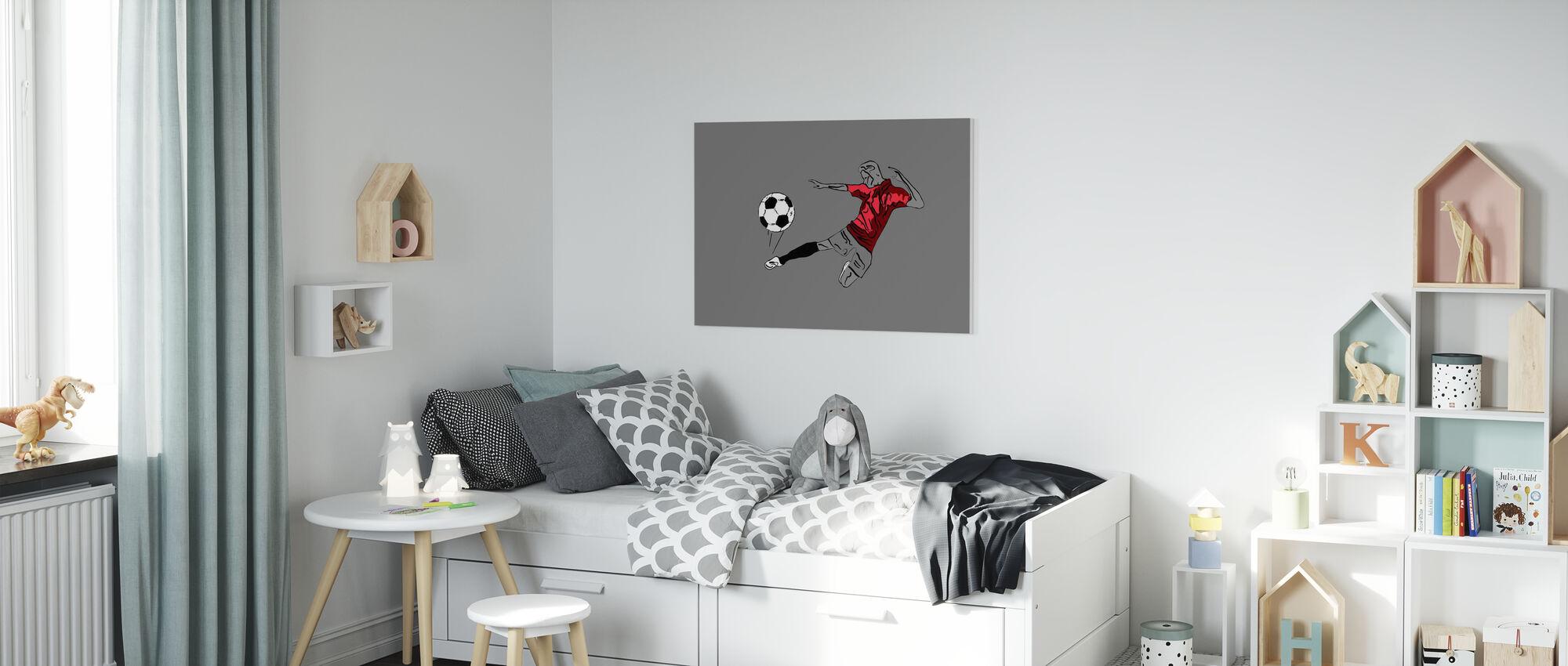 Kick It - Red Grey - Canvas print - Kids Room