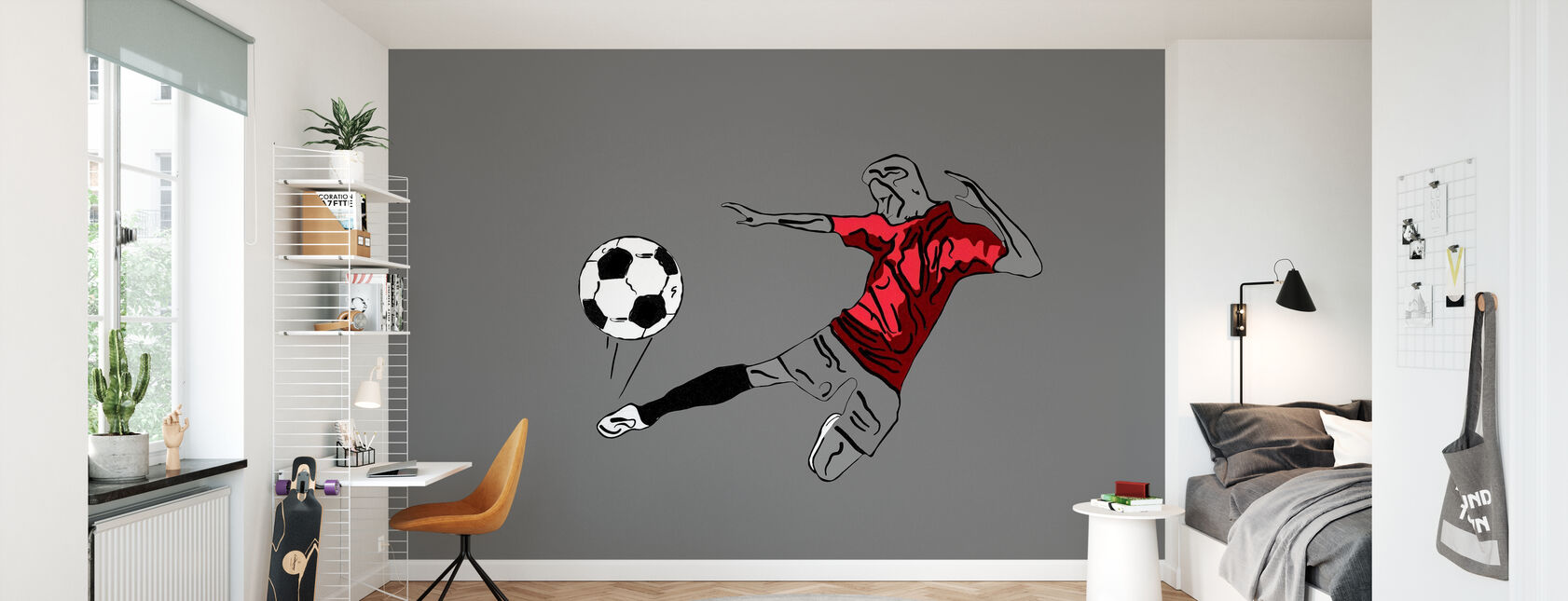 Kick It - Red Grey - Wallpaper - Kids Room