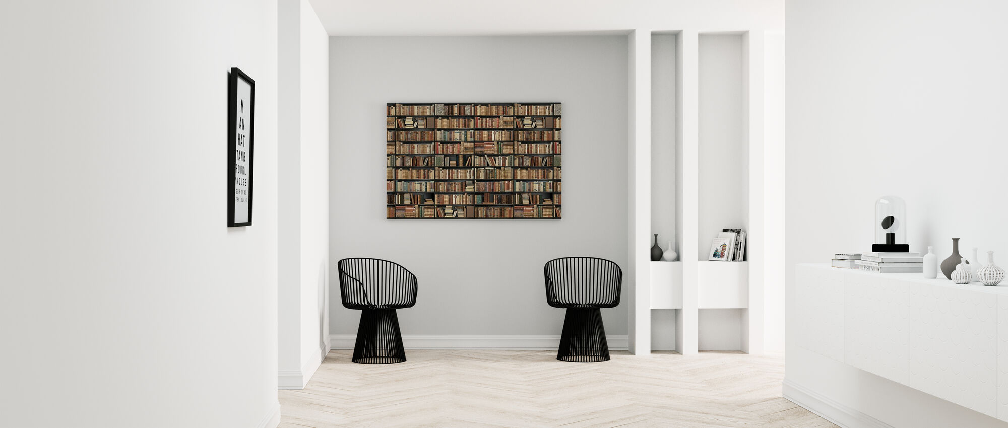 Bookshelf - Black - Brown Long - Canvas print - Hallway