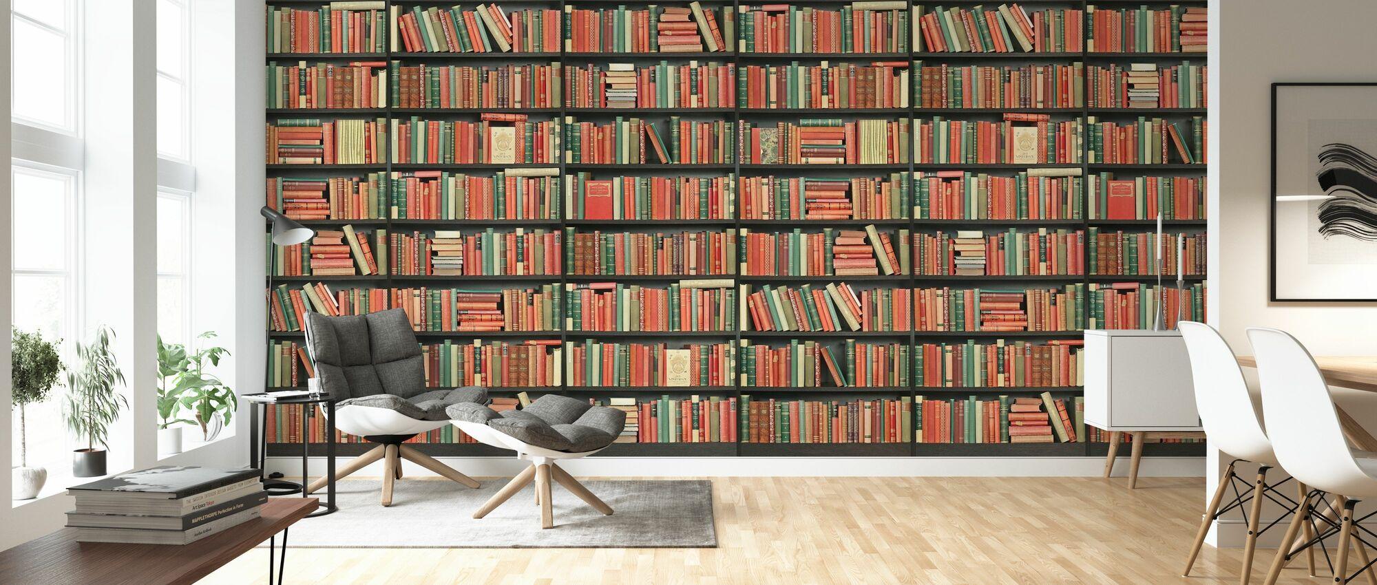 Bibliothèque - Noir - Rouge vert - Long - Papier peint - Salle à manger