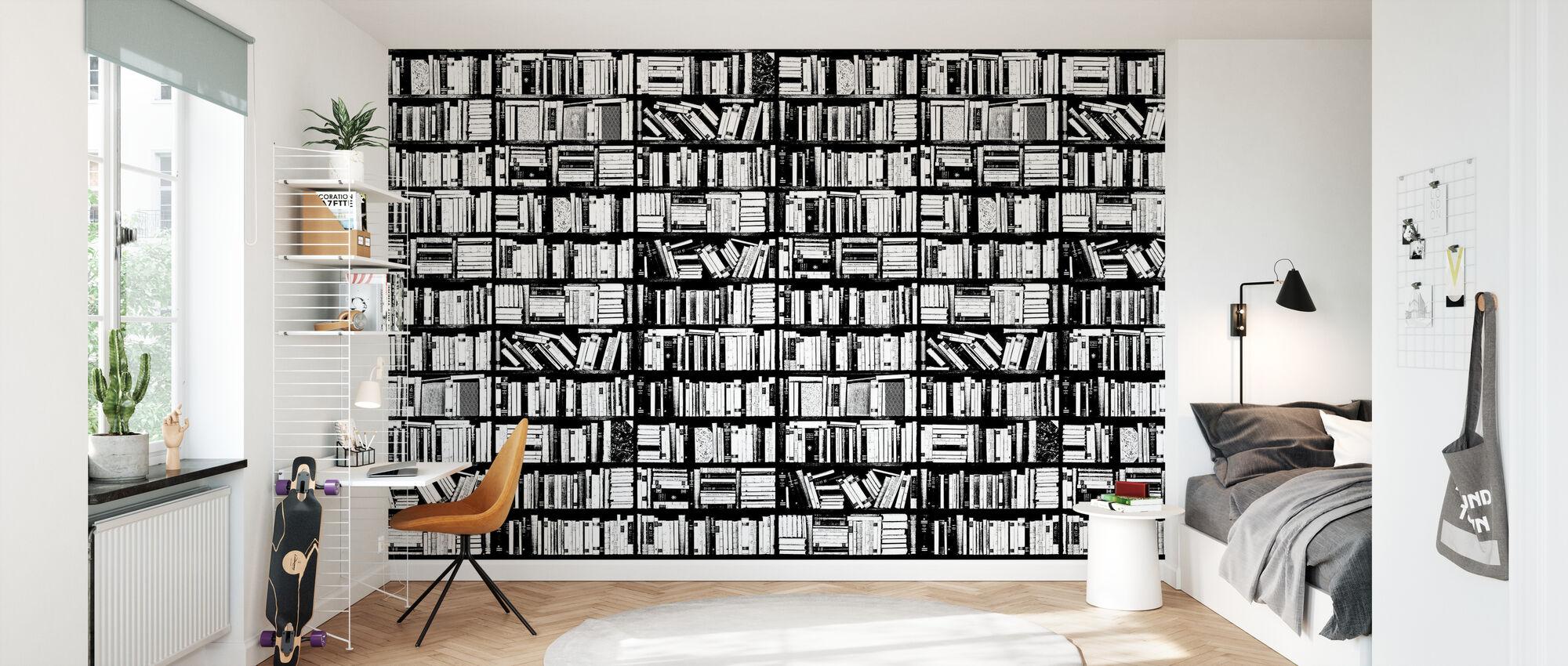 Étagère - Graphique Noir Blanc - Papier peint - Chambre des enfants