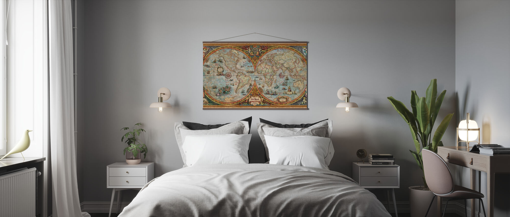 Hemisphere Kaart - Poster - Slaapkamer