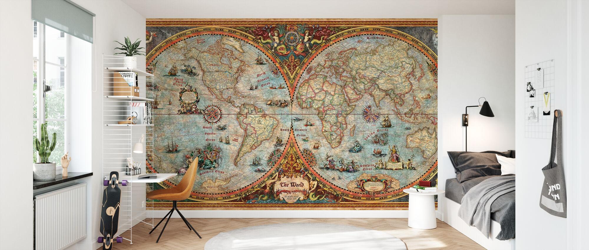 Hemisphere Map - Wallpaper - Kids Room