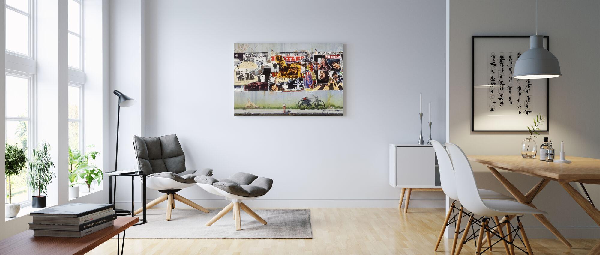 Beatles - Plakater på betonvæg - Billede på lærred - Stue