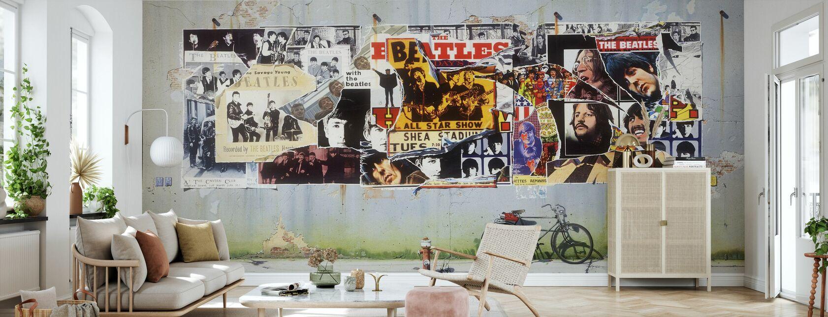 Beatles - Posters op betonnen muur - Behang - Woonkamer