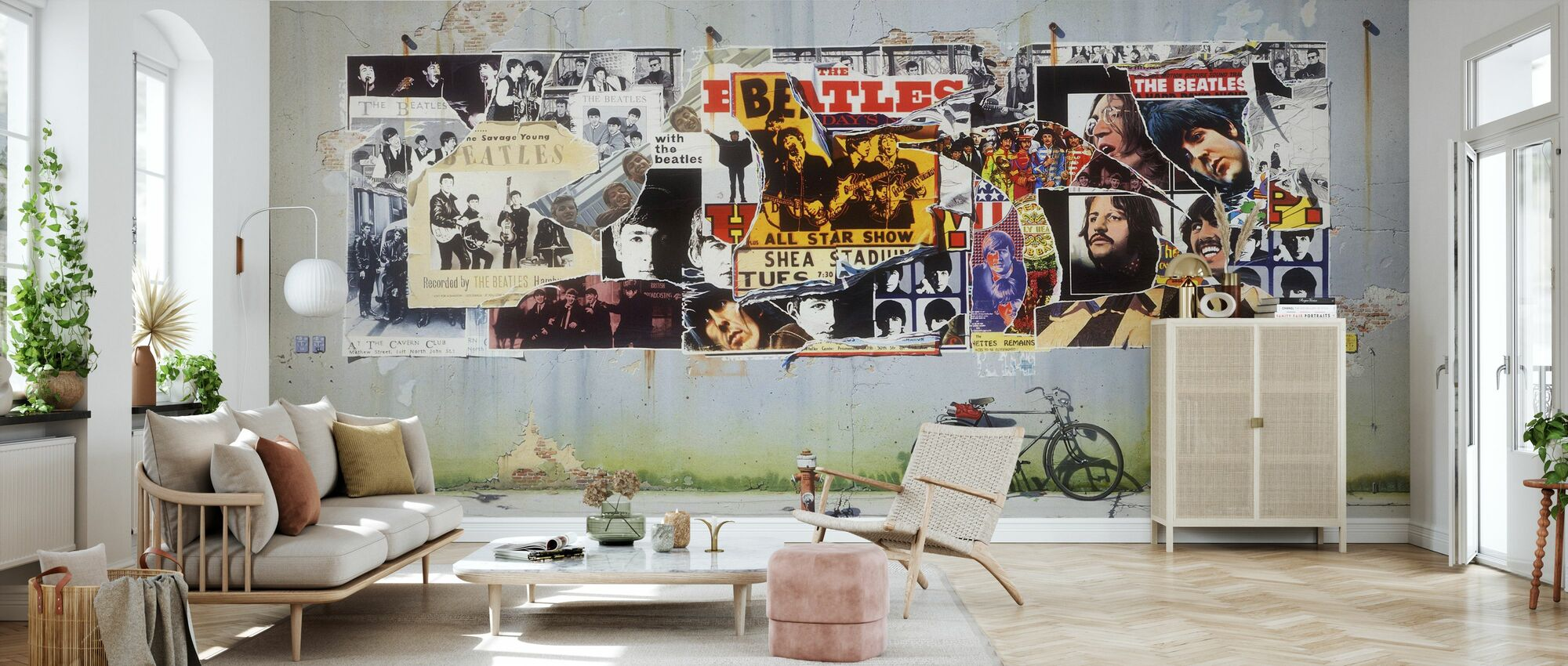 Beatles - Posters on Concrete Wall - Wallpaper - Living Room