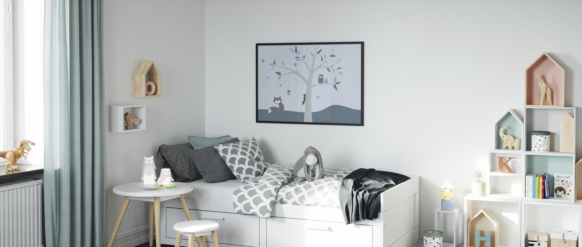 Dierenboom Blauw - Ingelijste print - Kinderkamer