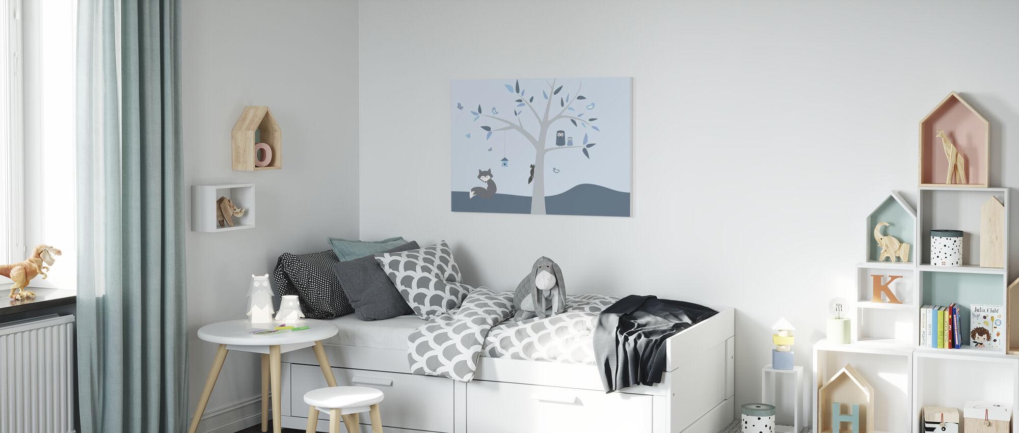 Dierenboom Blauw - Canvas print - Kinderkamer