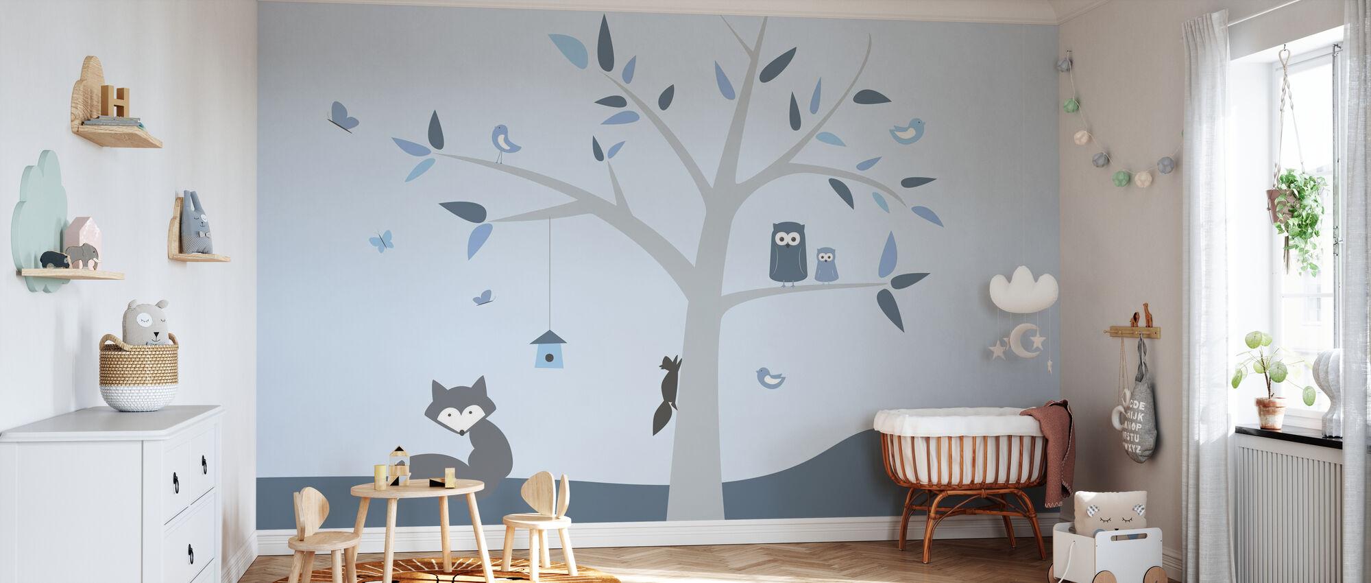 Animal Tree Blue - Wallpaper - Nursery