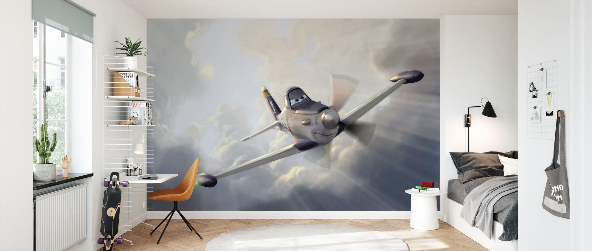 Lentokoneet - sotilaallinen pölyinen - Tapetti - Lastenhuone