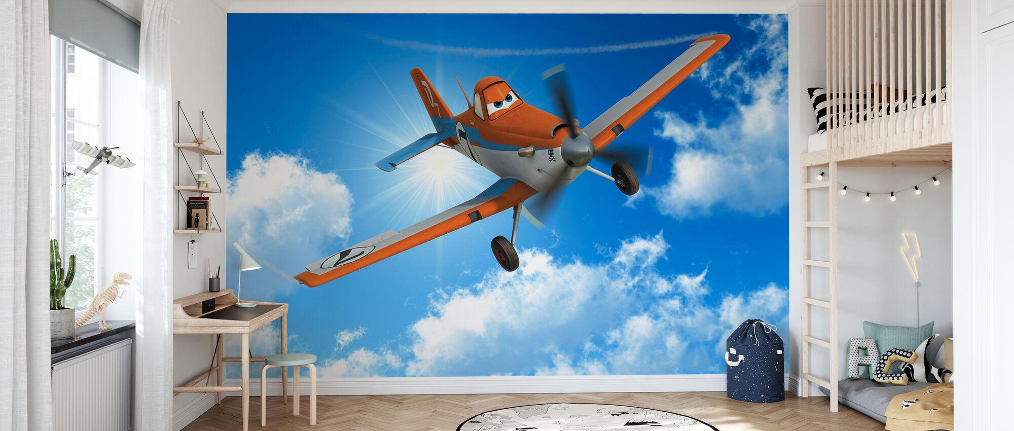 Lentokoneet - pölyinen taivaalla - Tapetti - Lastenhuone