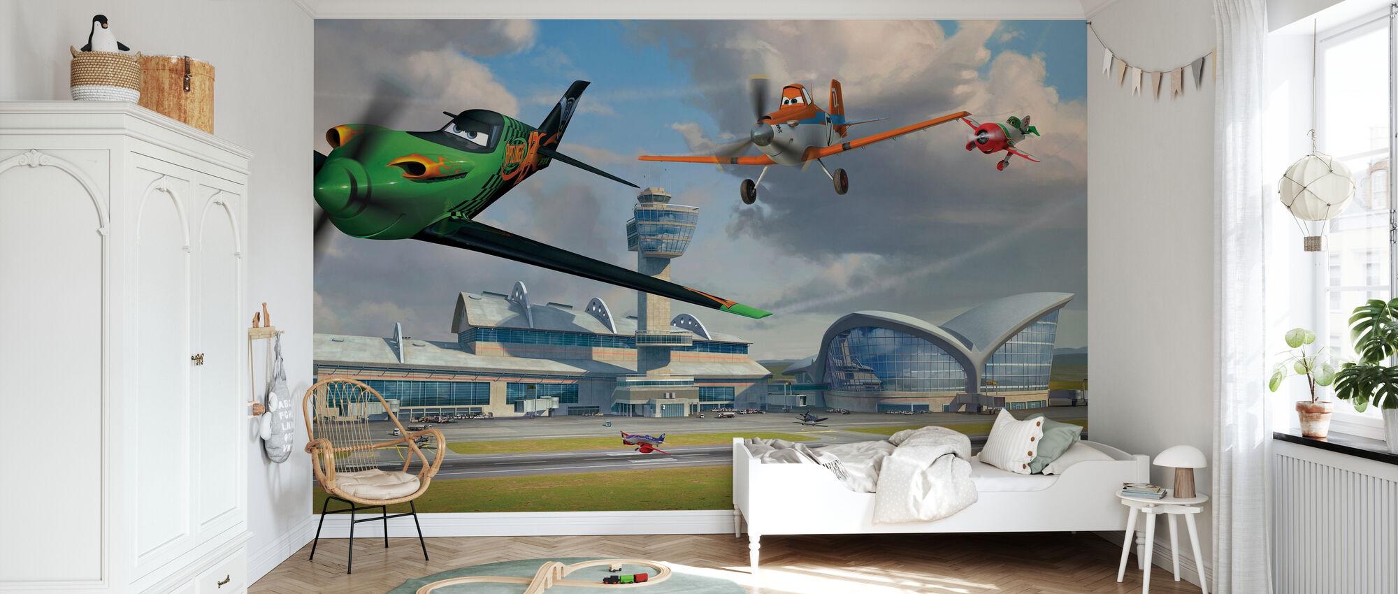 Lentokoneet - Ripslinger kohteessa Lentokenttä - Tapetti - Lastenhuone