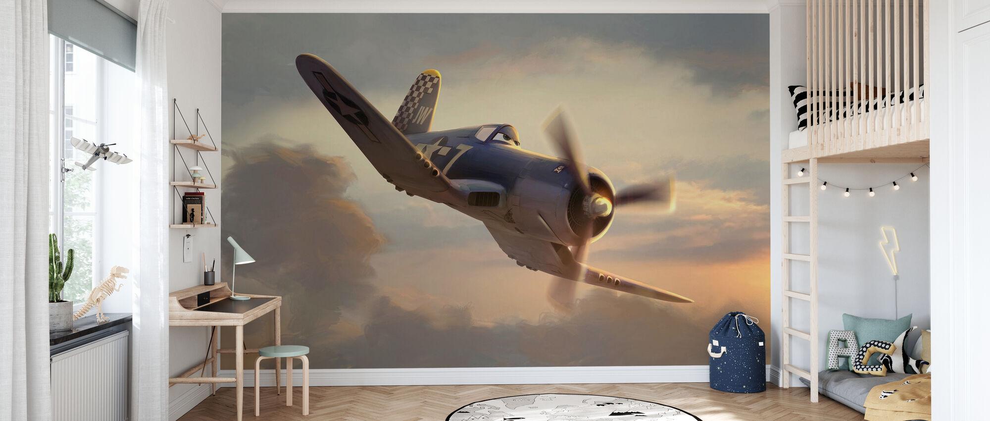 Flygplan - Skipper i solnedgången - Tapet - Barnrum