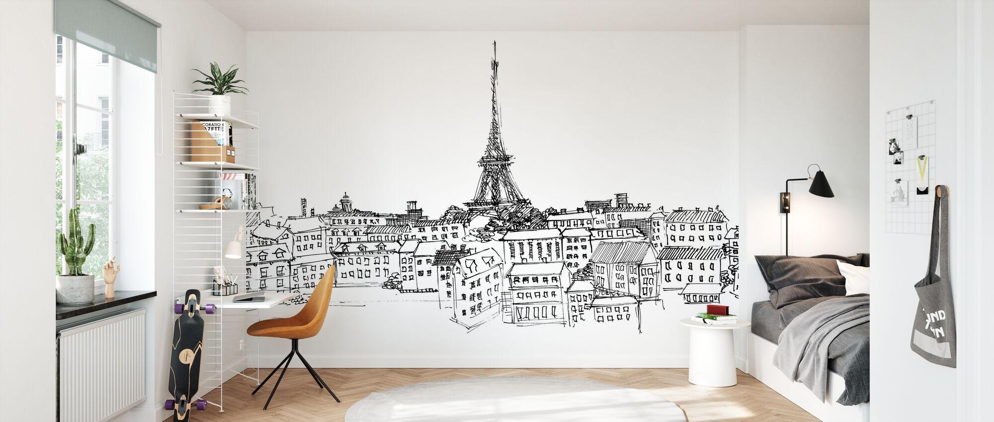 Avery Tillmon - Paris Skyline - Wallpaper - Kids Room