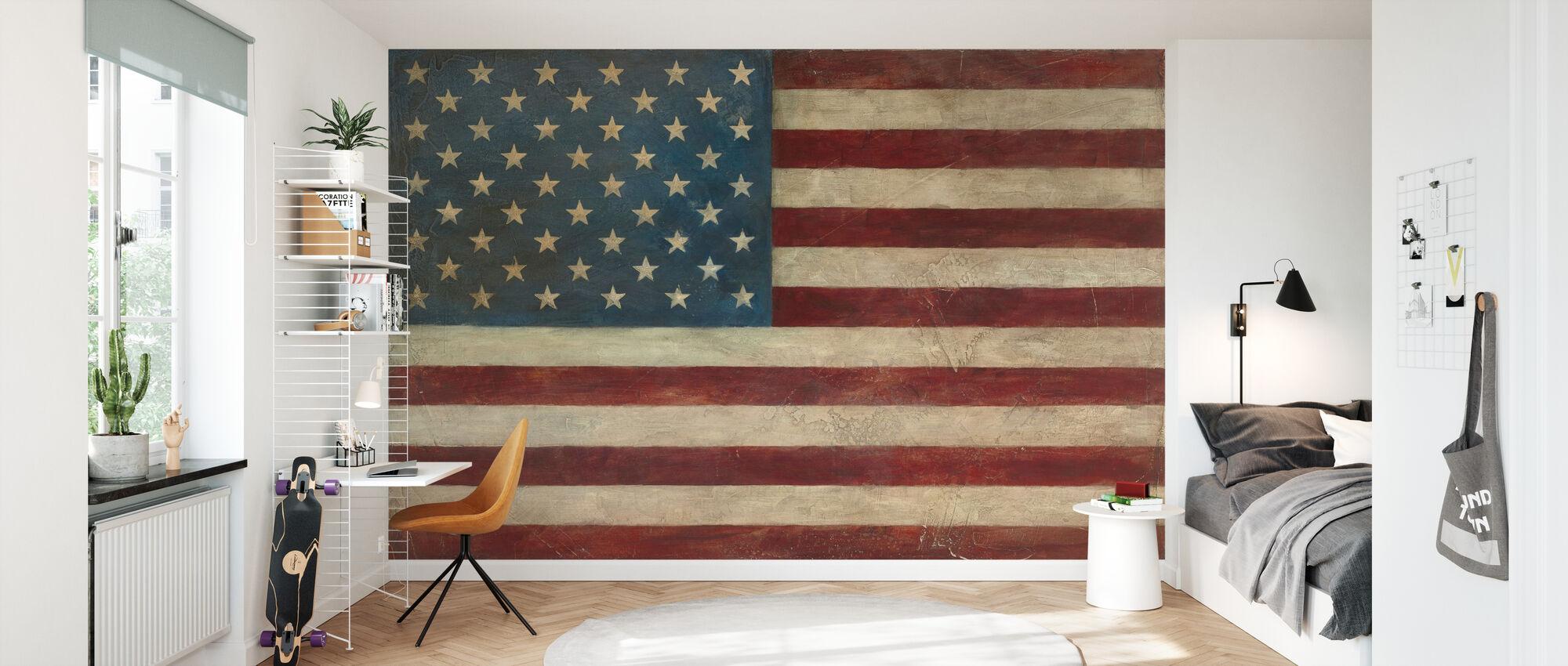 Avery Tillmon - amerikansk flagga - Tapet - Barnrum