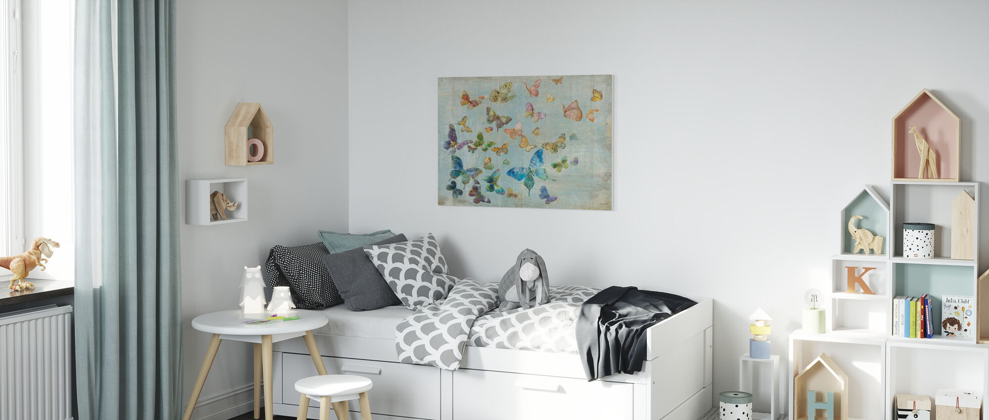 Perhosia - Canvastaulu - Lastenhuone