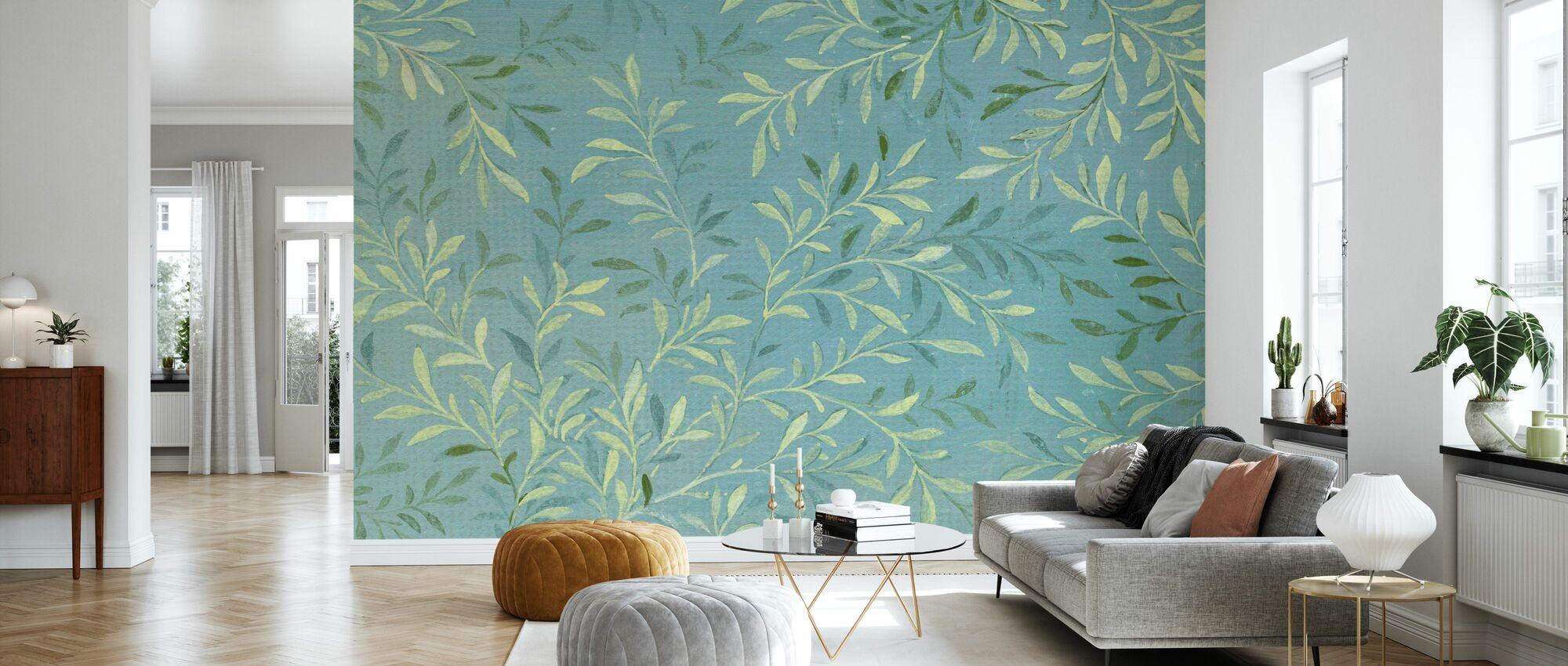 Blader på blå - Tapet - Stue