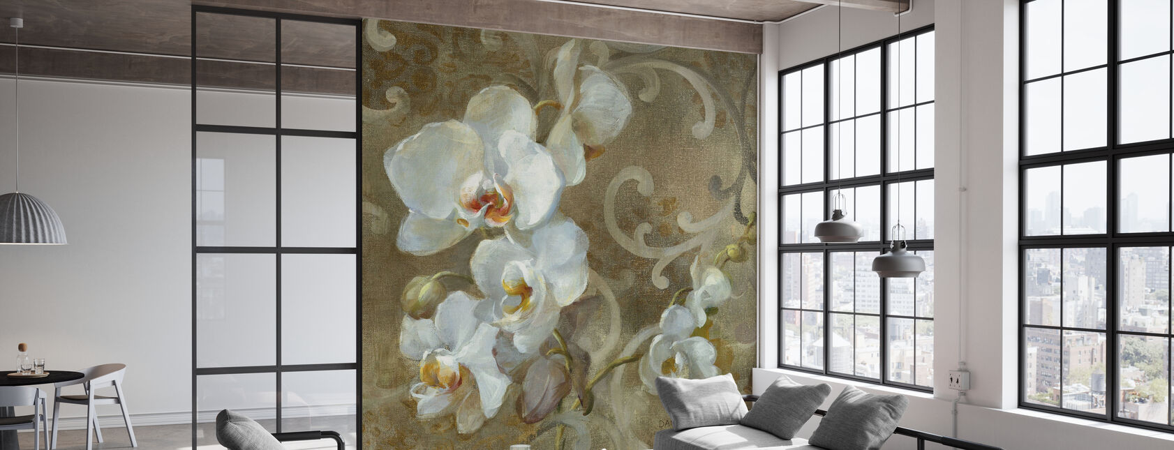 White Orchid Square - Wallpaper - Office