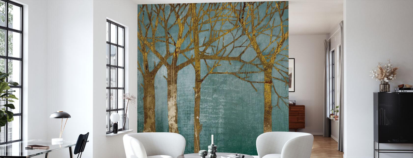 Golden Day Turquoise - Wallpaper - Living Room