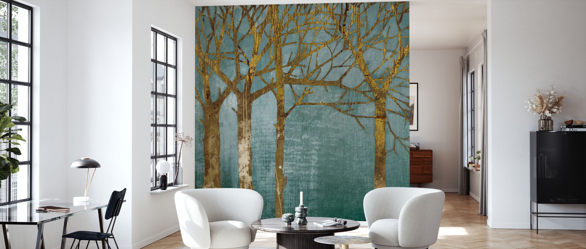 Golden Day Turquoise - Wallpaper - Living Room