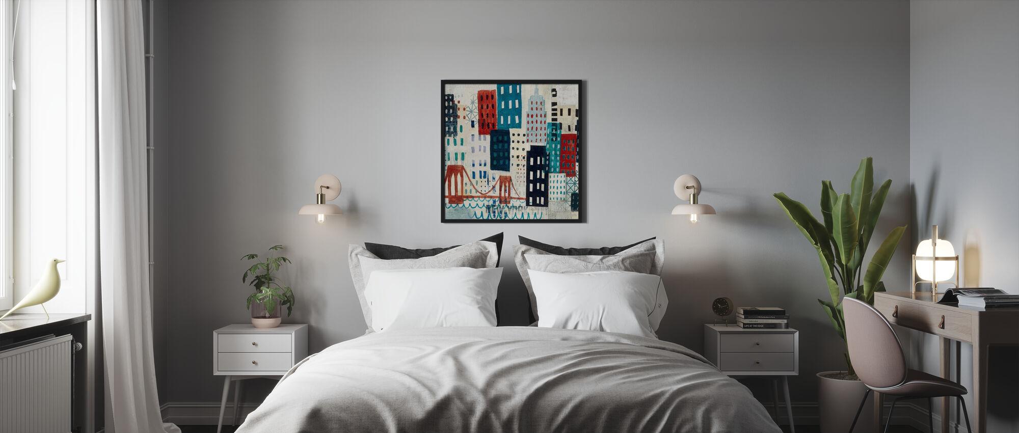 New York Skyline Collage - Blauw I - Ingelijste print - Slaapkamer