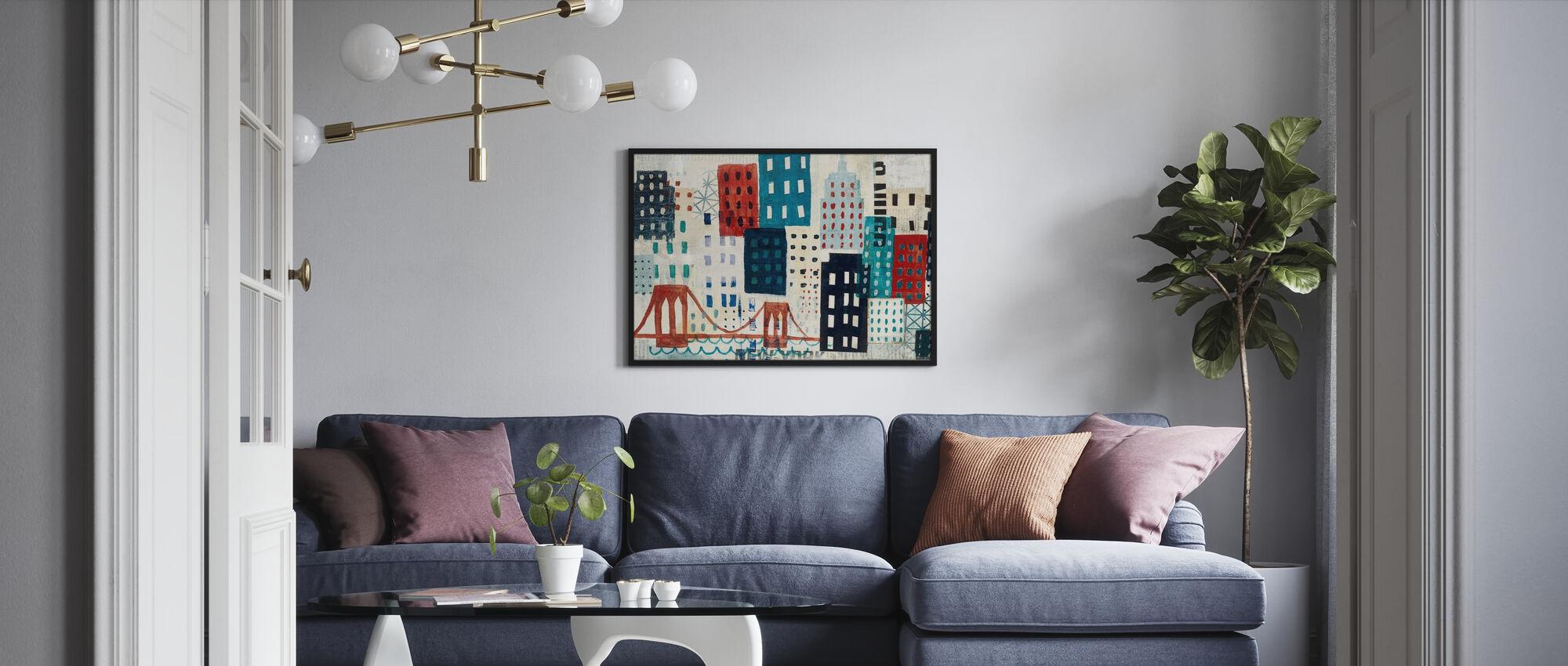 New York Skyline Collage - Blauw I - Ingelijste print - Woonkamer