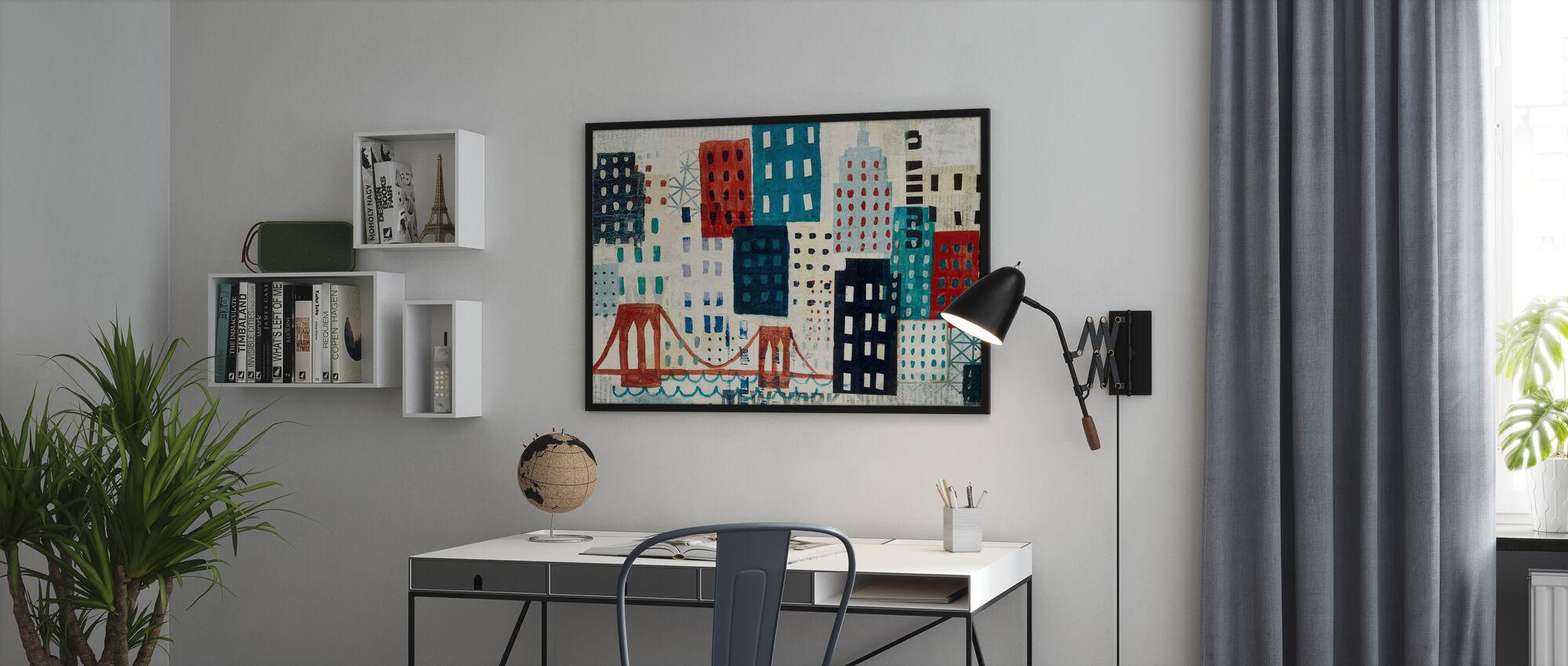 New York Skyline Collage - Blue I - Poster - Büro