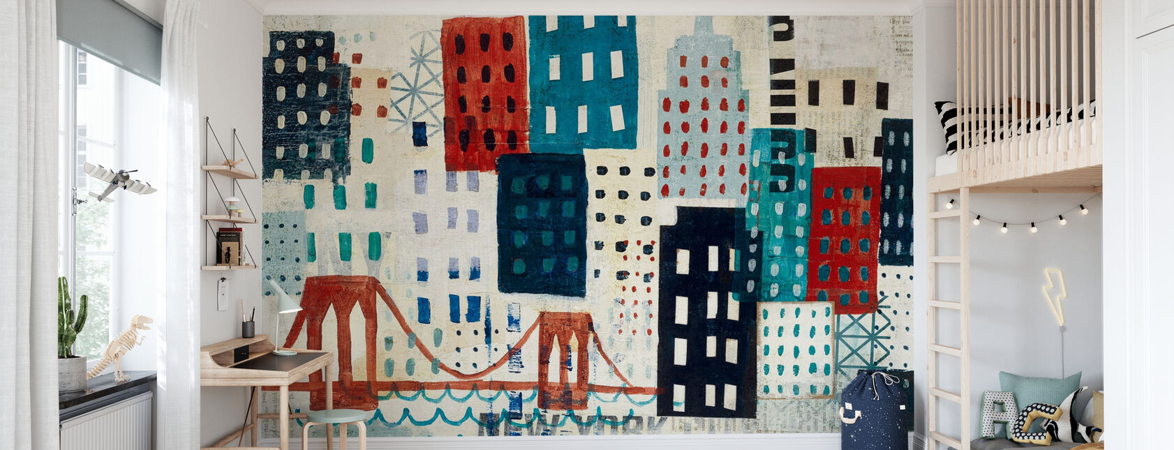 Collage Skyline di New York - Blu I - Carta da parati - Camera dei bambini
