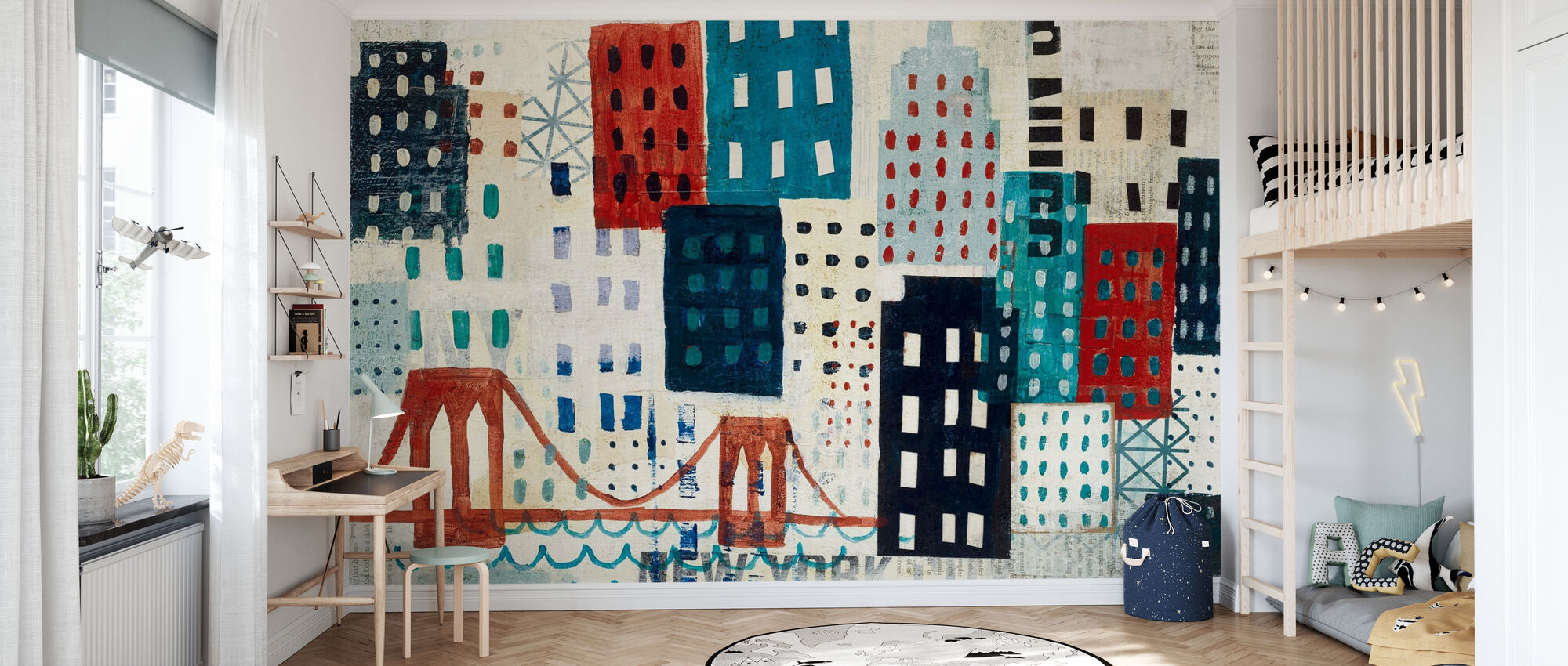 New York Skyline Collage - Blue I - Tapete - Kinderzimmer