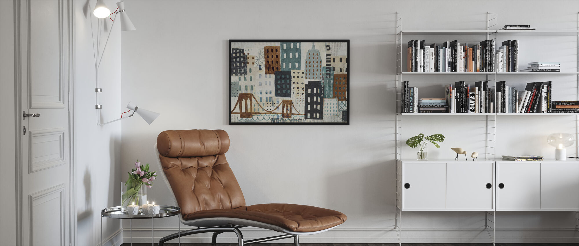 New York Skyline Collage - Grijs II - Ingelijste print - Woonkamer