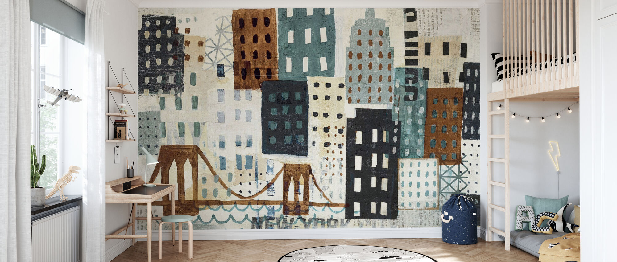 New York Skyline Collage - Grey II - Wallpaper - Kids Room