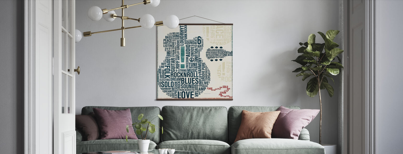 Type Guitar Square II - Poster - Living Room