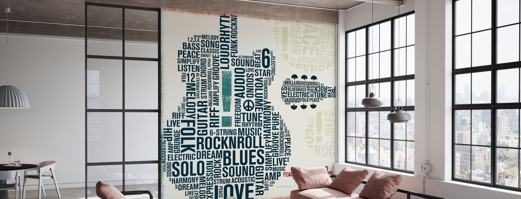 Type Guitar Square II - Wallpaper - Office