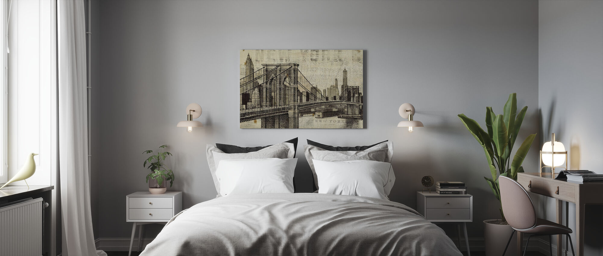 Vintage New York Brooklyn Bridge - Canvas print - Bedroom