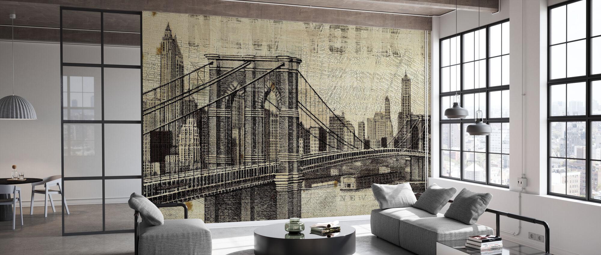 Vintage New York Brooklyn Bridge - Wallpaper - Office