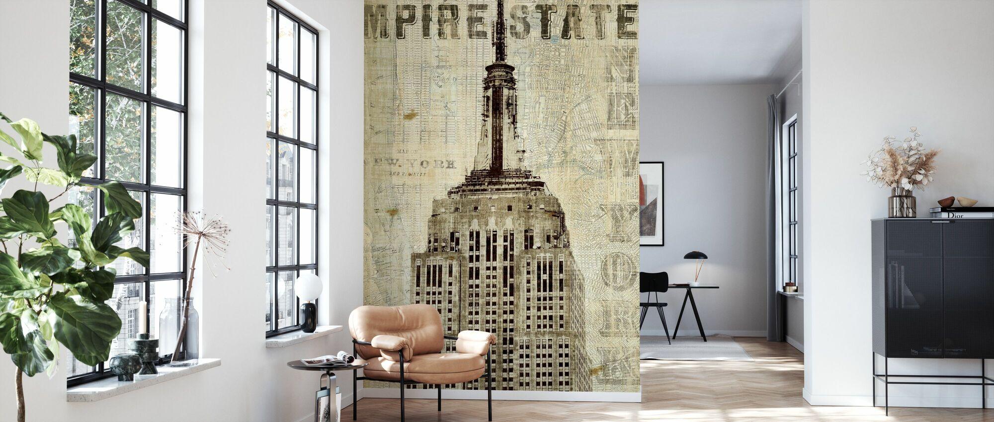Vintage New York Empire State - Tapete - Wohnzimmer