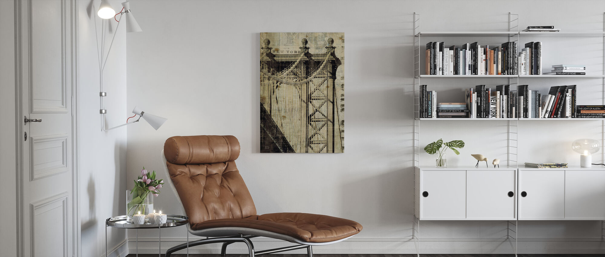 Vintage New York Manhattan Bridge - Canvas print - Living Room