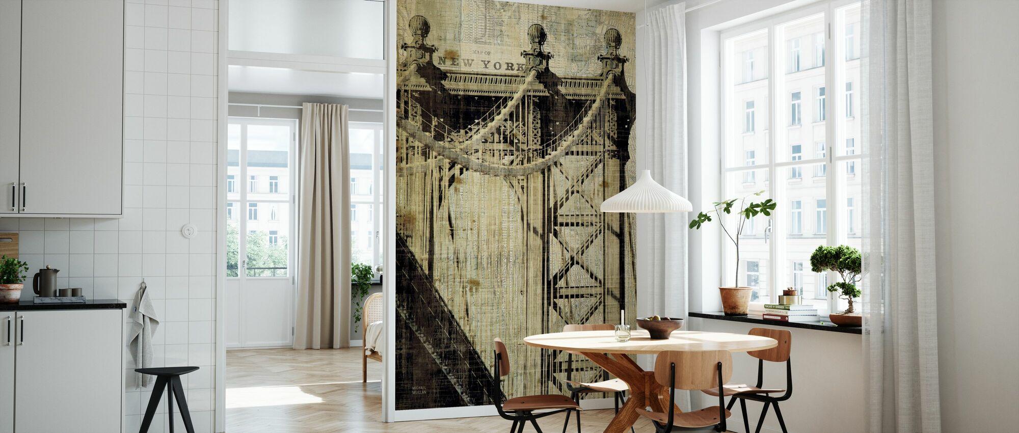 Vintage New York Manhattan Bridge - Wallpaper - Kitchen