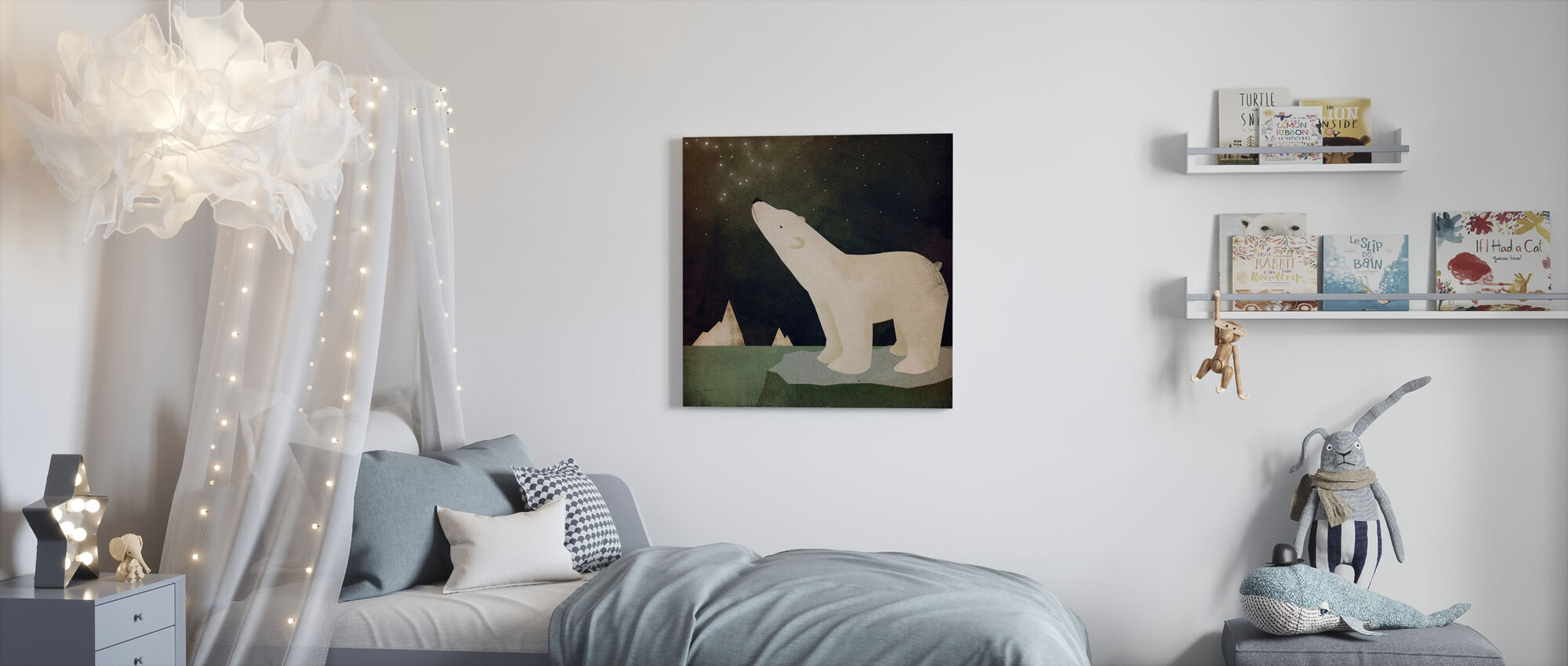 Constellations Polar Bear - Canvas print - Kids Room