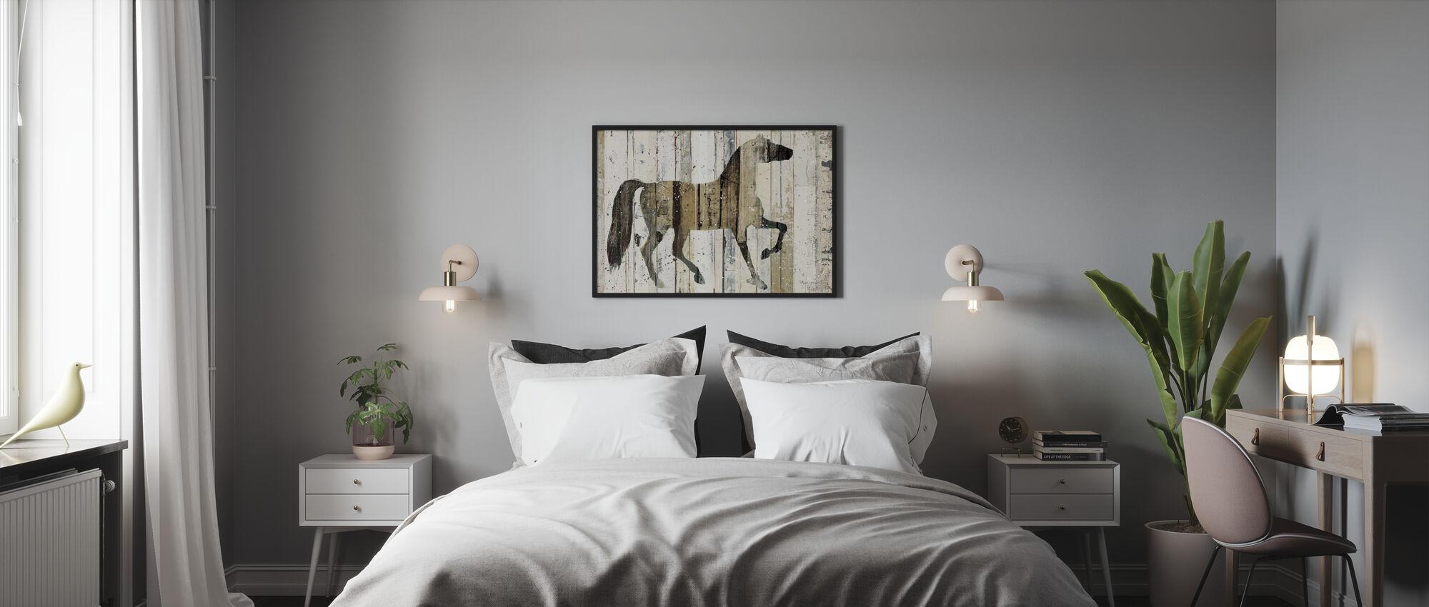 Tumma hevonen - Kehystetty kuva - Makuuhuone