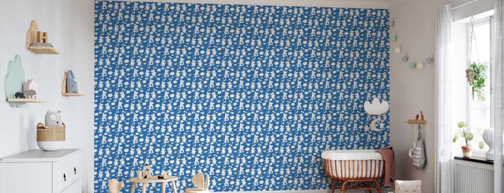 Moomin Retro Pattern - Blue - Wallpaper - Nursery