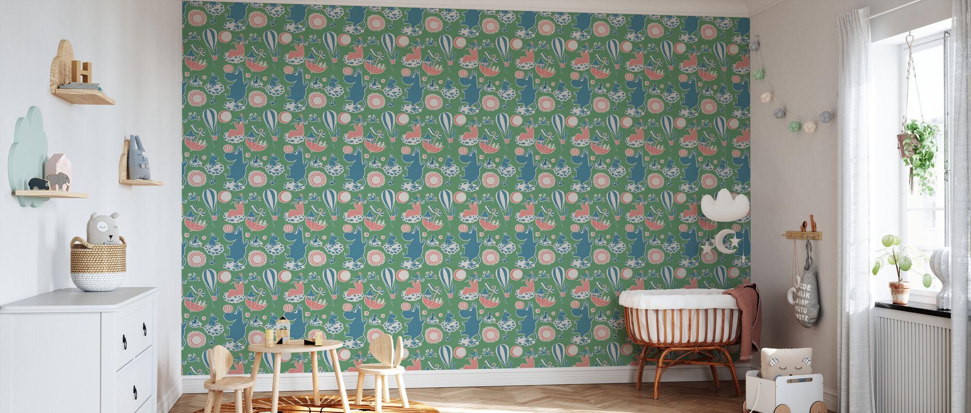Muumi Retro Pattern - Vihreä - Tapetti - Vauvan huone