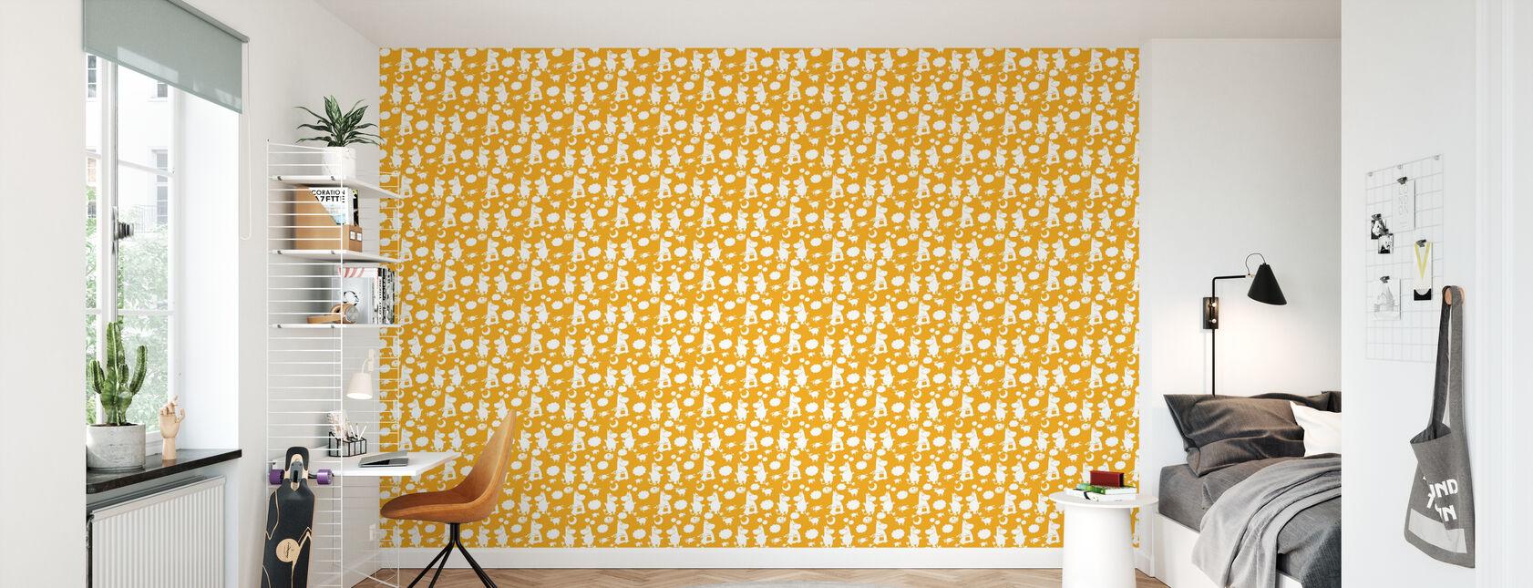 Moomin Retro Pattern - Yellow - Wallpaper - Kids Room